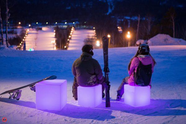 Световые кубы на горнолыжном спуске