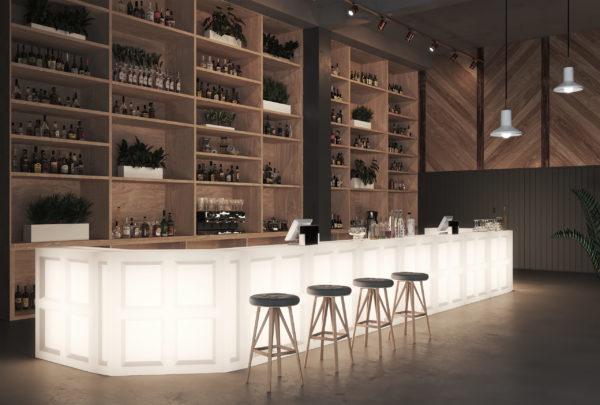 Светящаяся барная стойка в баре