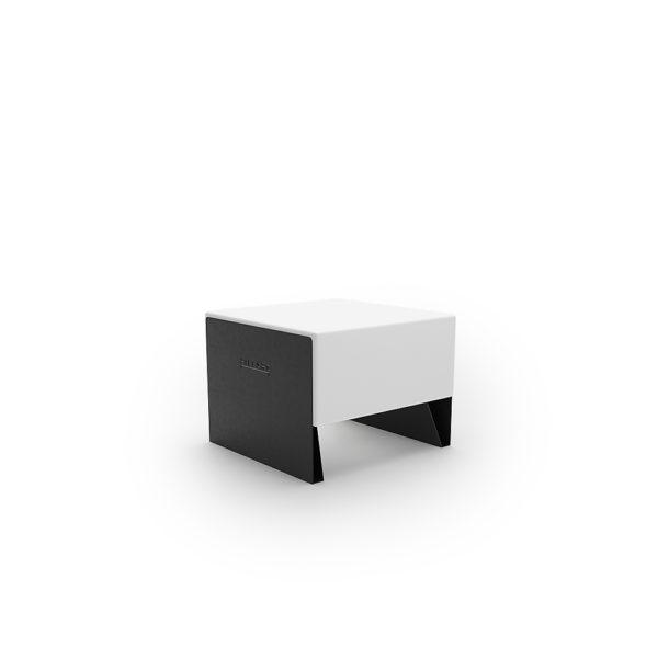 Белая одноместная скамейка 600 мм