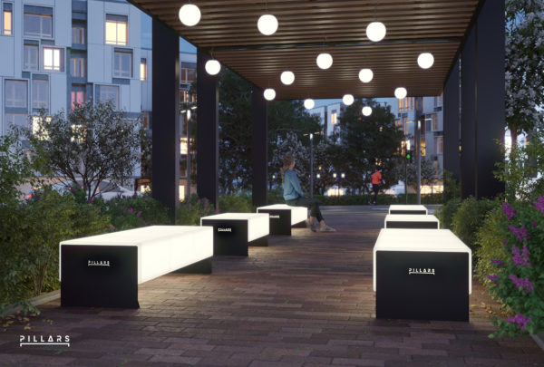 Пергола со световыми скамейками