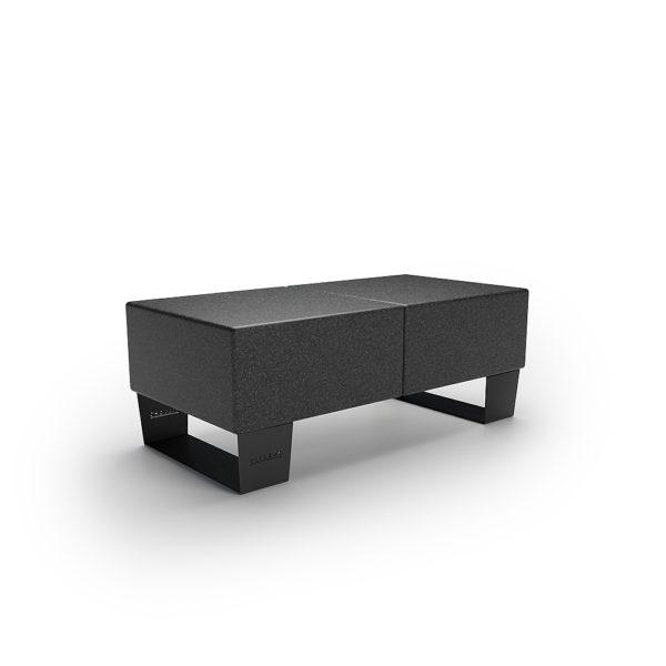 Черная двойная скамейка 1200 мм