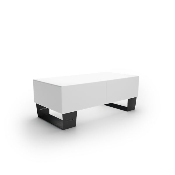Белая двойная скамейка 1200 мм