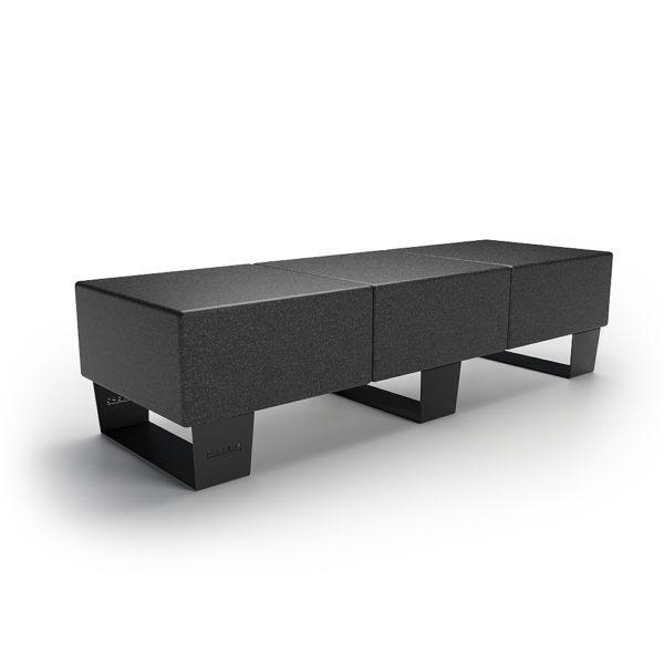 Черная тройная скамейка 1800 мм