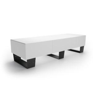 Тройная белая скамейка для улицы