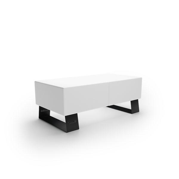 Белая двухместная скамейка