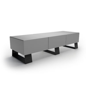 Серая трехместная скамейка
