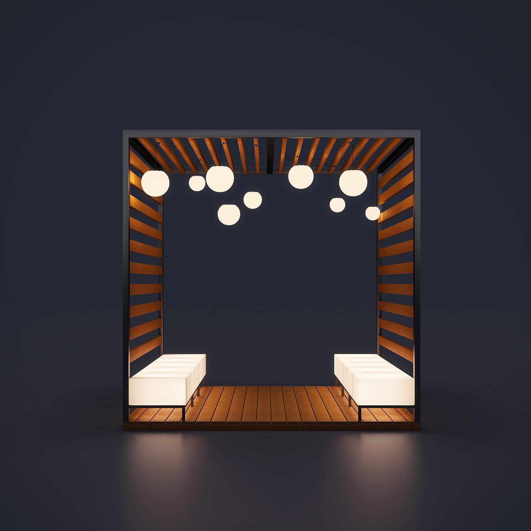 Пергола со светящимися скамейками
